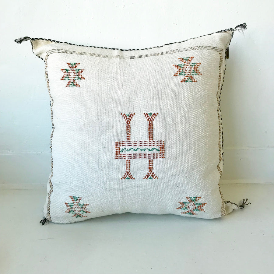 Moroccan Cactus Silk Pillow | Cream