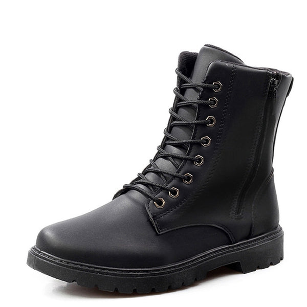 Men winter leather boots waterproof non-slip