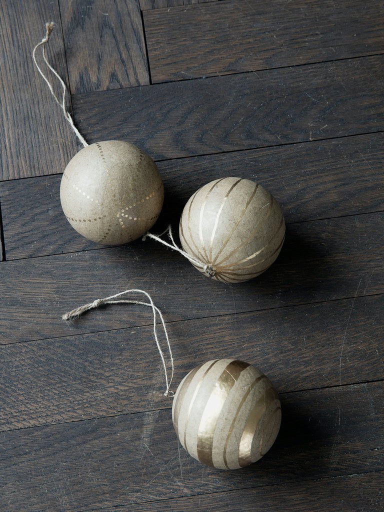 Set of 3 Paper Kraft Paper Christmas Baubles
