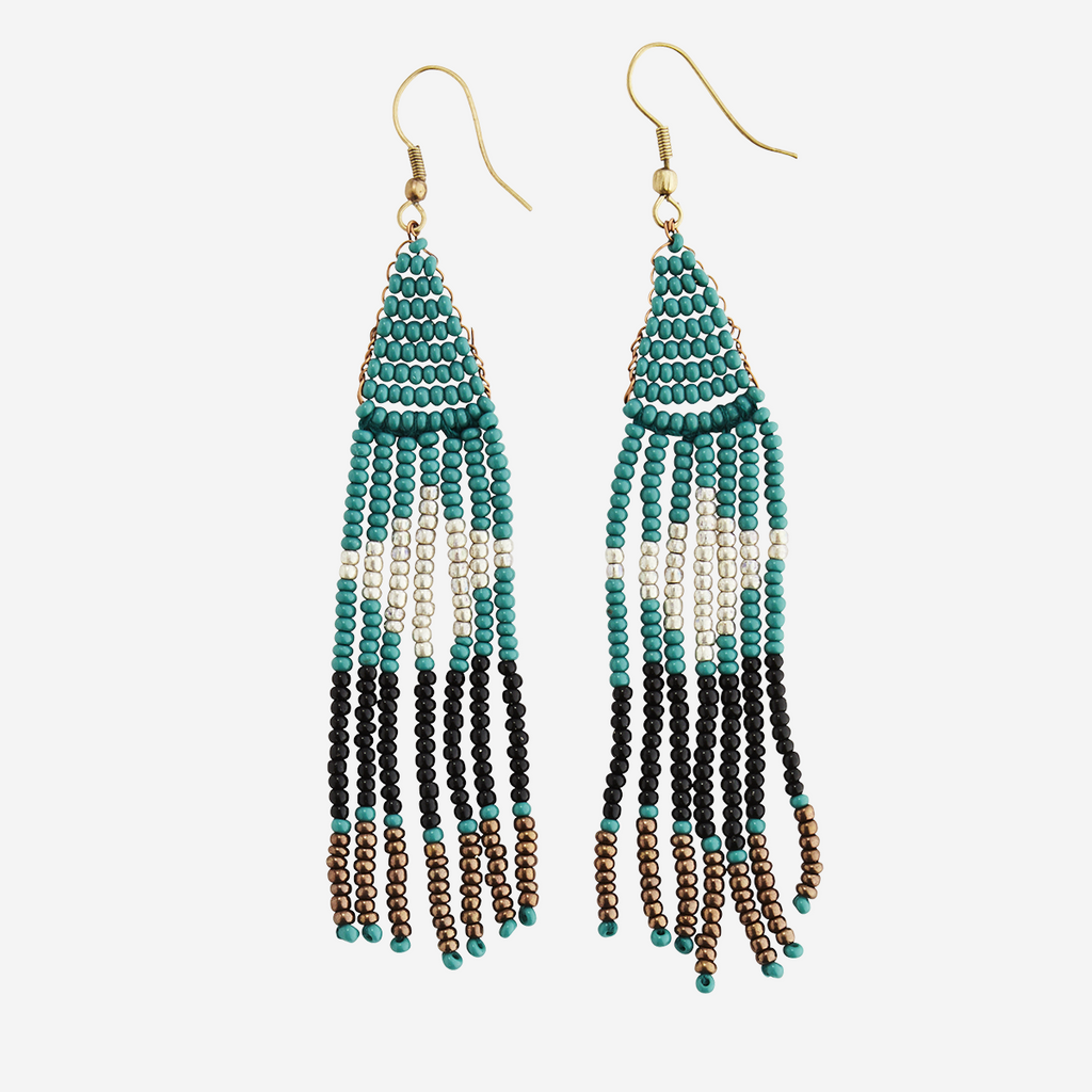 Handmade Glass Beaded Earrings Turquoise
