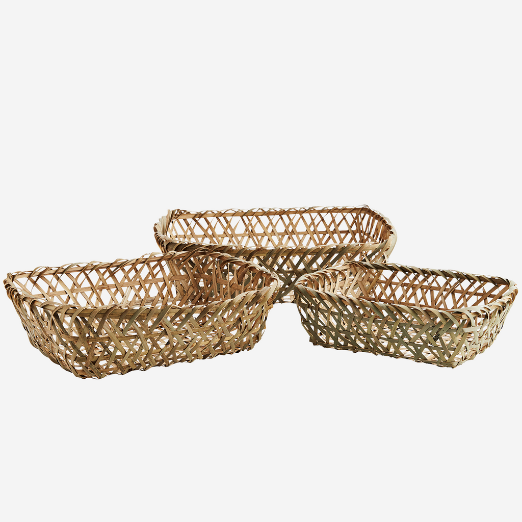 Rectangular Bamboo Baskets Set of 3