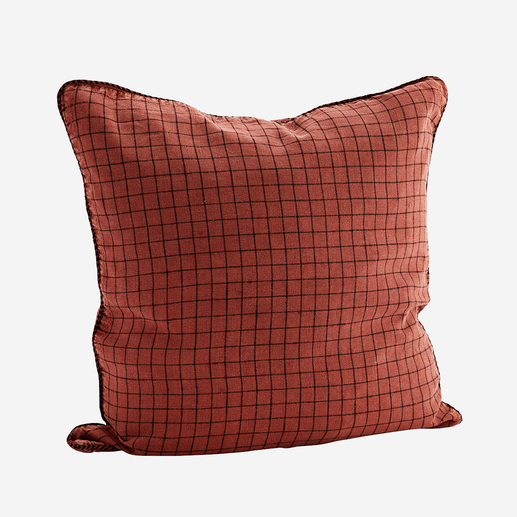 Checked Linen Cushion Cover - Paprika