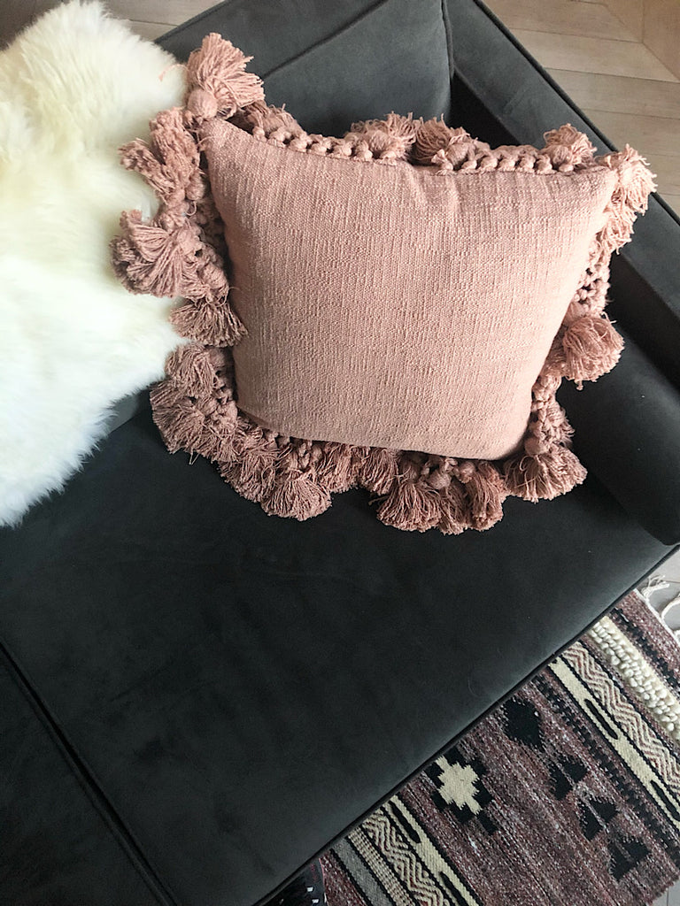 Blush Pink Cushion with Tassels