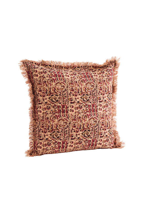 Raspberry Printed Cushion with Fringes
