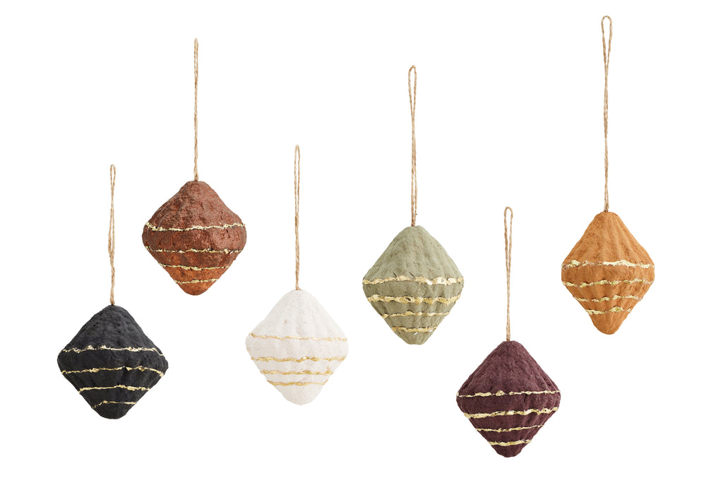 Set of 6 Recycled Cotton Paper Cone Decorations