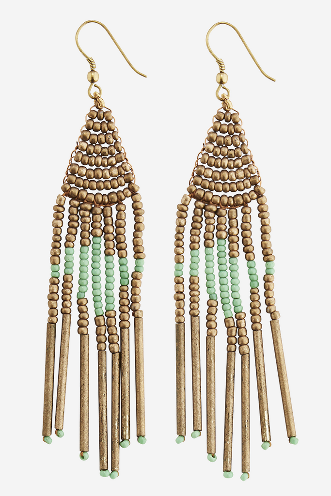 Handmade Glass Beaded Earrings Gold & Green