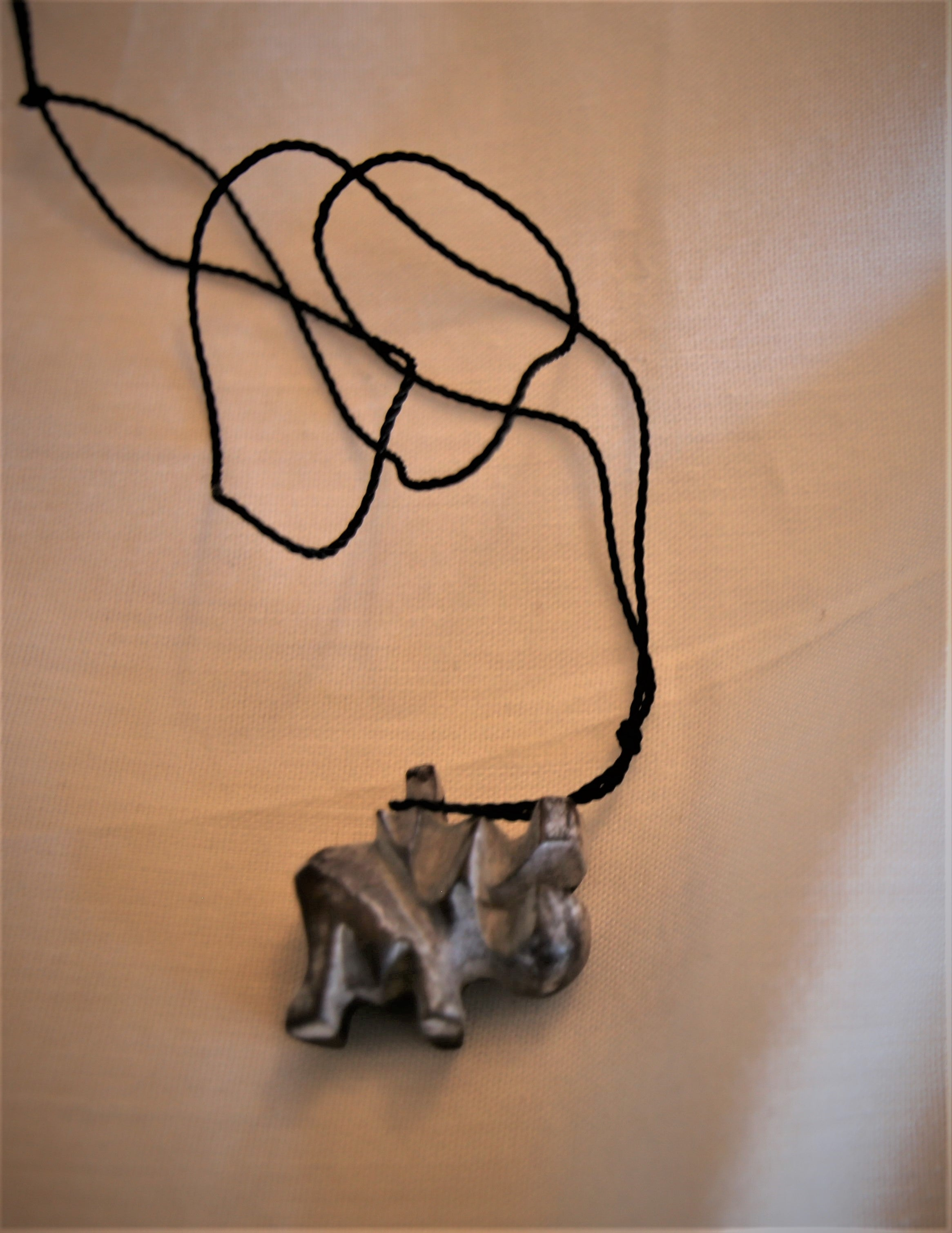Wooded Hippo necklace