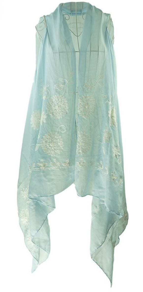 Light blue sleeveless cover up/layering top