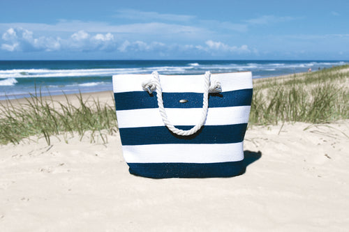 Bronte Navy/White Stripe Beach Bag