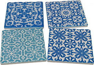 Blue and White Drink Coasters