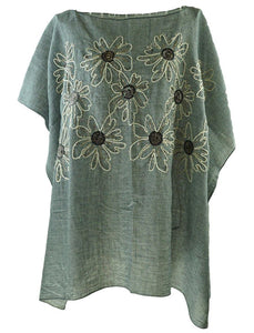 Grey Kaftan top with subtle floral embroidery