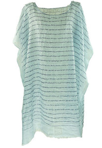 Long light blue Kaftan top with subtle floral and line print