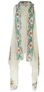 Pink sleeveless cover up/layering top with red and green embroidery