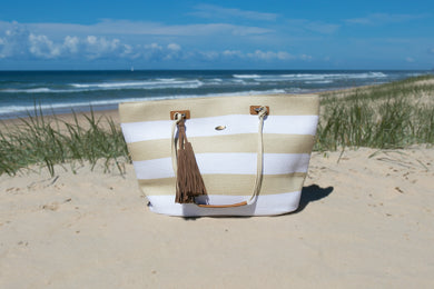 Whitehaven White/Natural Stripe Large Beach Bag - Only one remaining