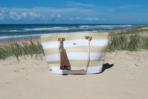 Whitehaven White/Natural Stripe Large Beach Bag
