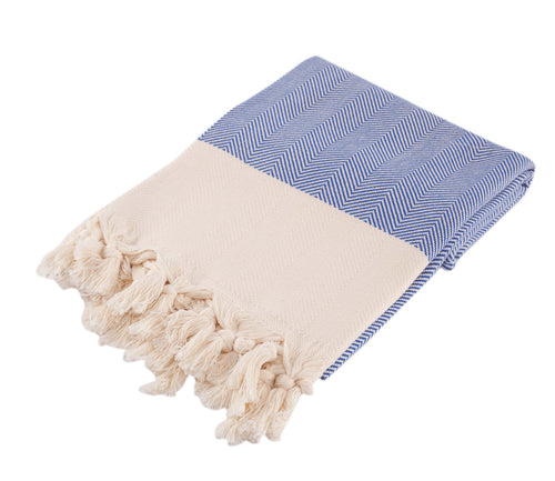 Chevron Blue Hand Towel