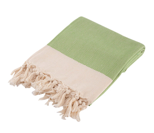 Chevron Green Hand Towel