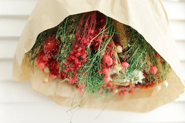 Bundle of Joy Bouquet | Air-dried Preserved Wild Flower Bunch (Red)