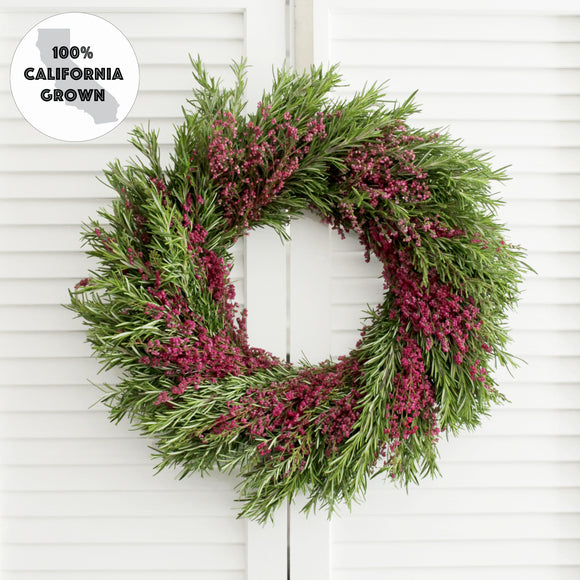 Fresh Heather + Rosemary Wreath - Greenery + Flower Wreath