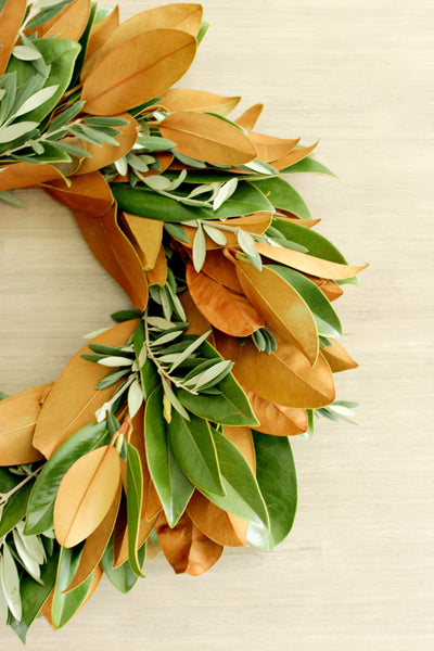 Fresh Handmade Magnolia + Olive Branch Wreath