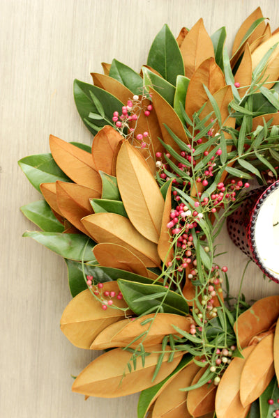Fresh Handmade Magnolia + Pepperberry Wreath