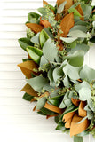 Fresh Handmade Magnolia + Seeded Eucalyptus Wreath