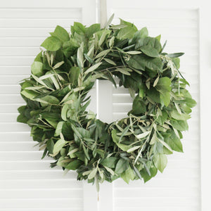 Fresh Handmade Olive Lemon Leaf Wreath