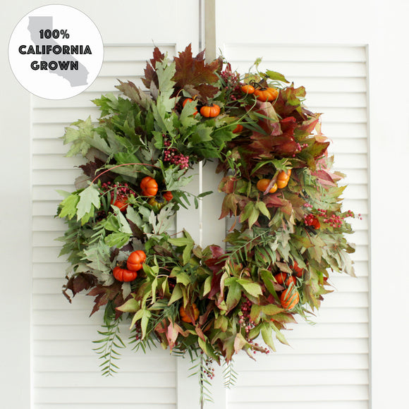 Fresh Autumn Pumpkin Wreath