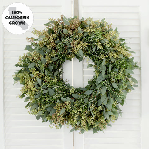 Fresh Seeded Eucalyptus + Rosemary Wreath