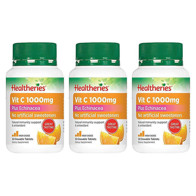 Healtheries Vitamin C 1000mg Plus Echinacea 35 Chewable Tablets x3