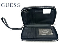 GUESS Wellman SLG Billetero Mujer Negro Doble Zip Wristlet