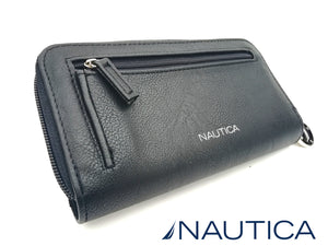 NAUTICA BILLETERA BLACK  ZIP AROUND CON RFID