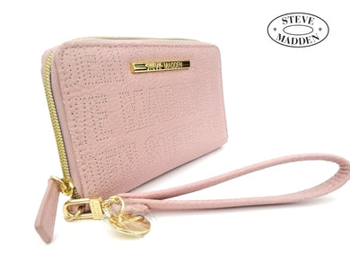 STEVE MADDEN BILLETERA MUJER Light Pink Blush Logo Zip Wallet