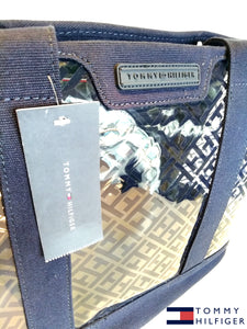 TOMMY HILFIGER TH LOGO TRANSPARENTE Tote Handbag Purse Blue