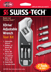 SWISS TECH Multiherramienta llave ajustable 7 en 1 en acero inoxidable