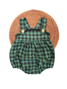 The Esther Romper - Green + Black Check