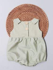 The Collared Joan Romper - Sage