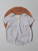 Load image into Gallery viewer, The Collared Joan Romper - Grey Gingham