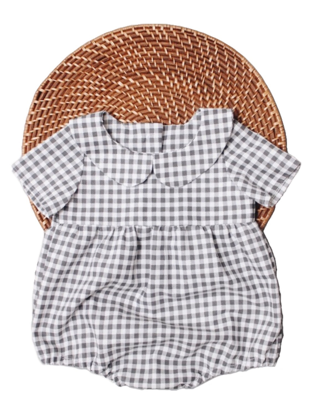 The Collared Joan Romper - Grey Gingham