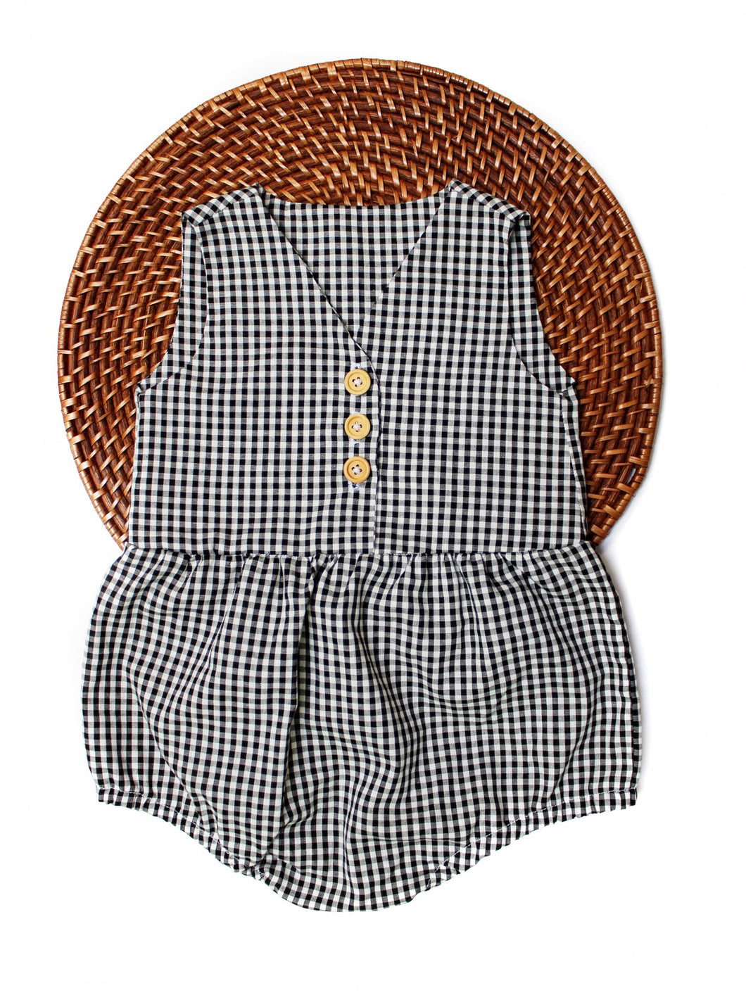 The Lee Romper - Black and White Gingham