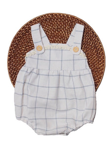The Esther Romper - Window Pane Linen