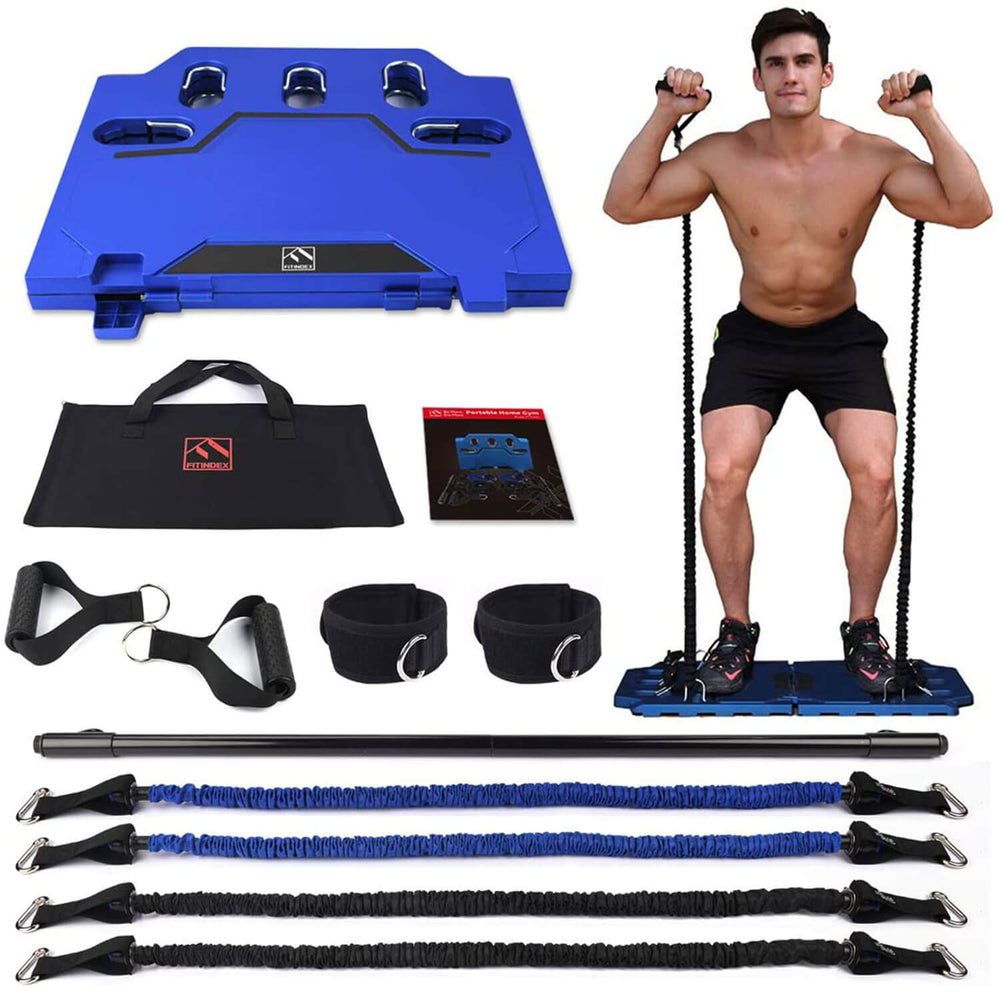 Portable Home Gym With Resistance Bands & Workout Bar