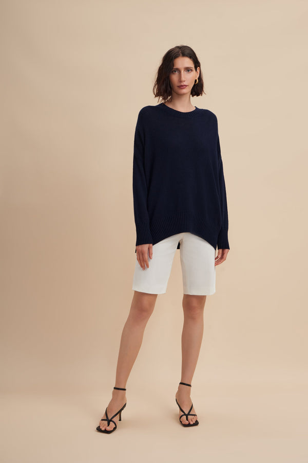 W.Cashmere Joey Oversized Crew Neck Sweater - Navy