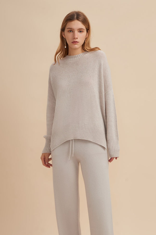 W.Cashmere Joey Oversized Crew Neck Sweater - Fog