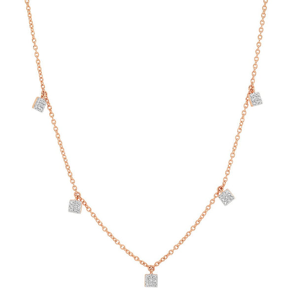 Eriness Diamond Mini Square Necklace Rose Gold