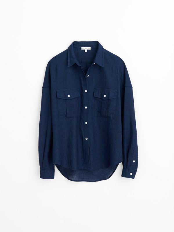 Alex Mill Keeper Oversized Button-Down in Indigo-Dyed Chambray