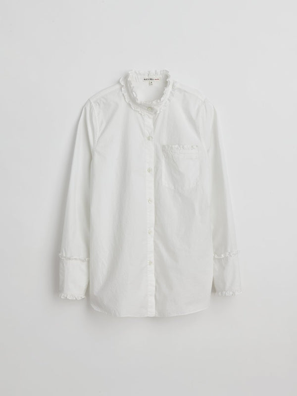 Alex Mill Ruffle Shirt in Paper Cotton - White