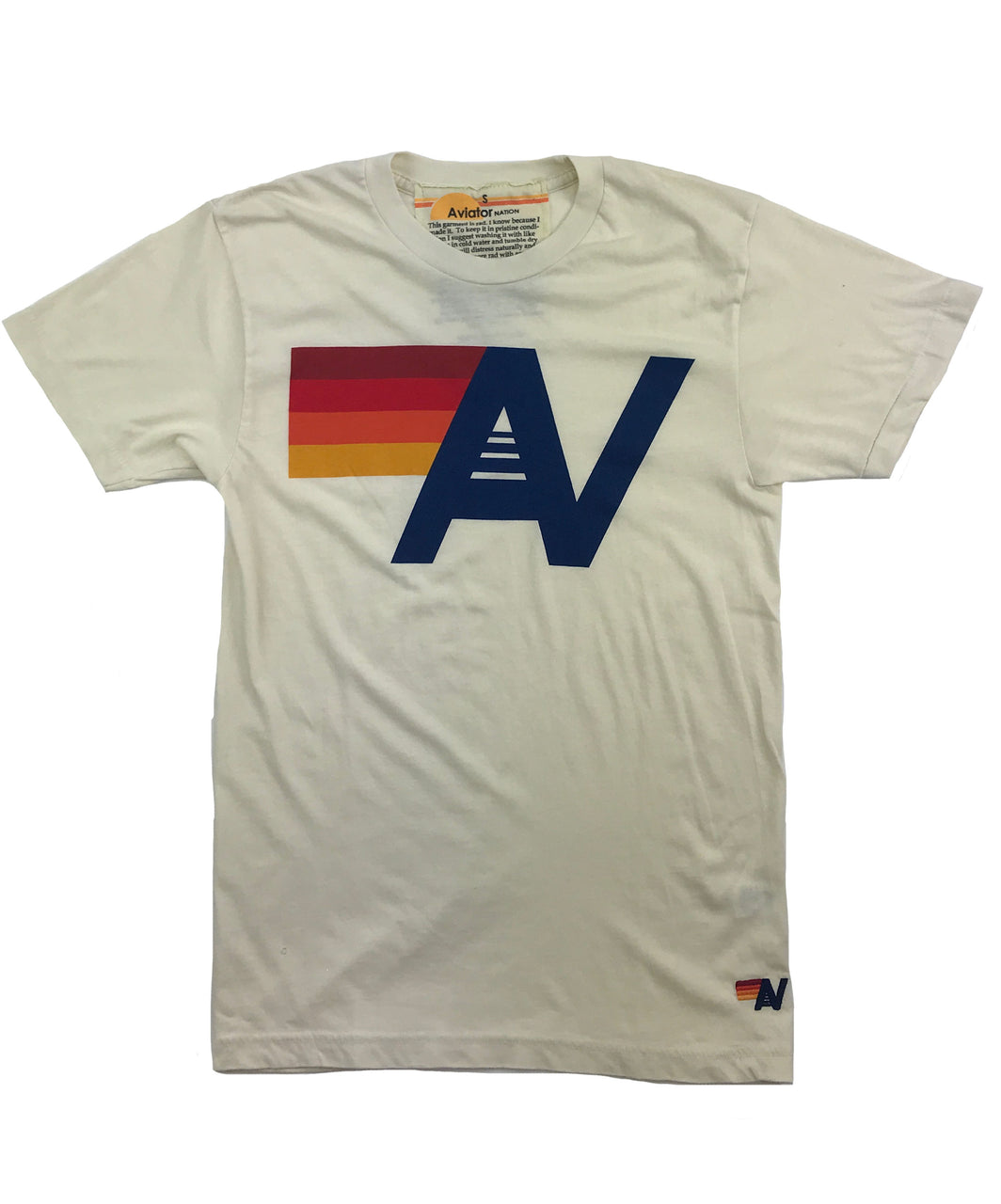 Aviator Nation Logo Crew Tee Vintage White