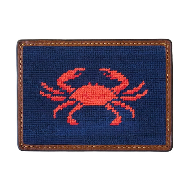 Smathers & Branson Coral Crab Needlepoint Card Wallet