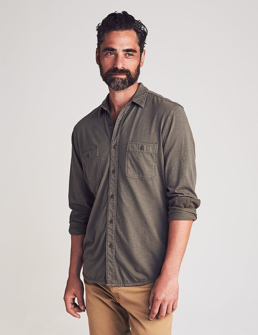 Faherty Knit Seasons Shirt - Olive